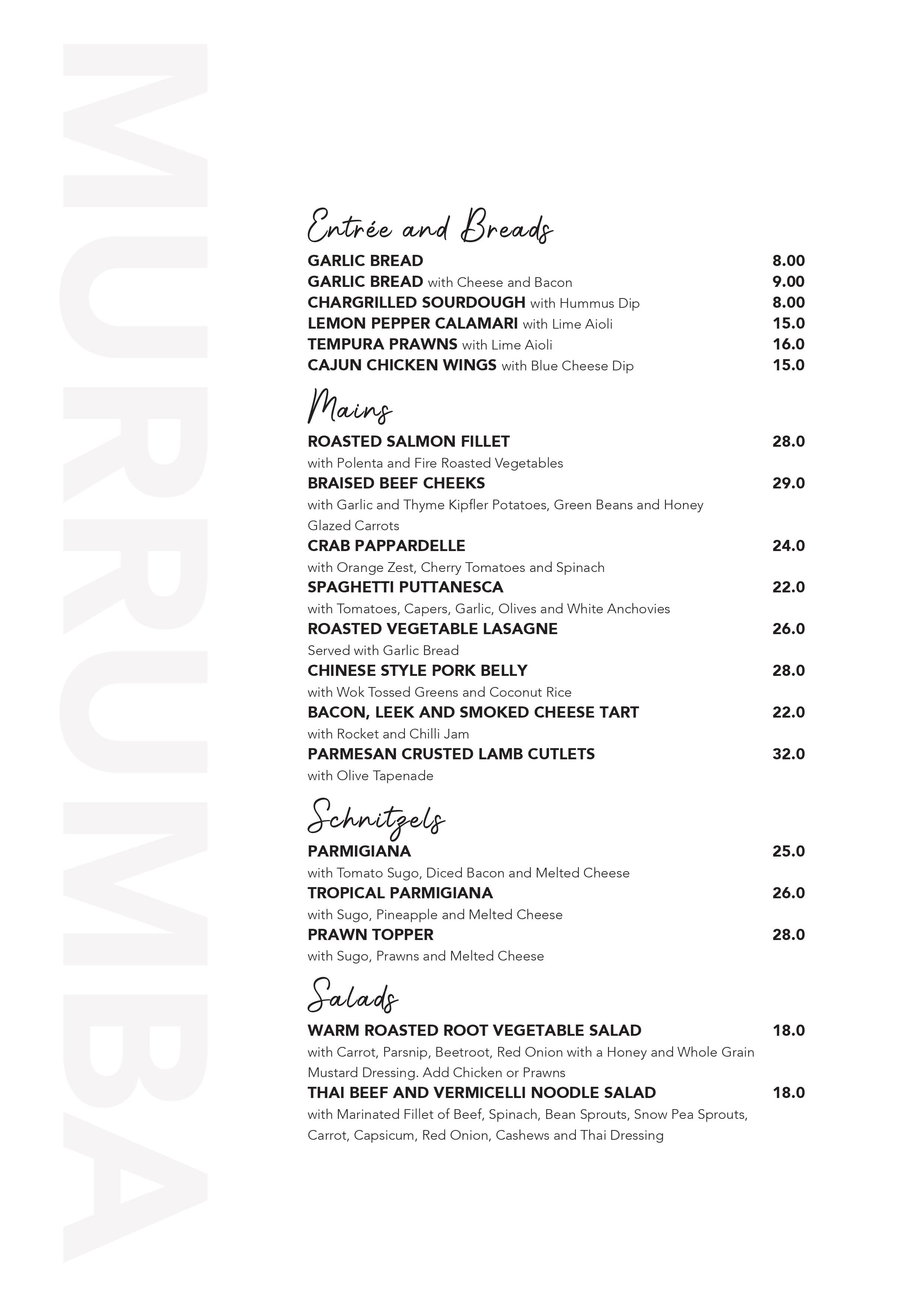 Murrumba Downs Tavern Menu